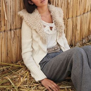 Anthro {Angel of the North} Collared Cream Sweater
